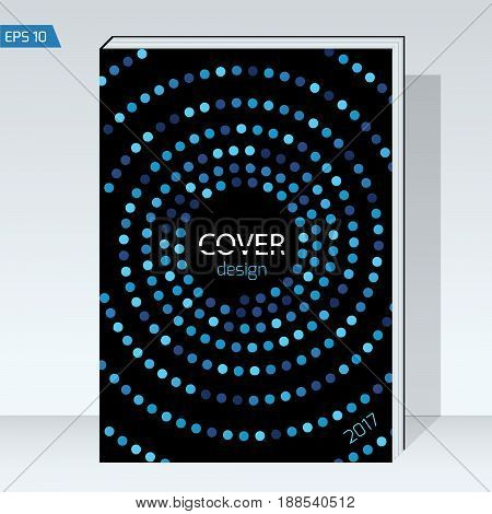 Design Cover brochure. color blue circle on black background. Vector template Layout for annual report, book cover, headline, posters, flyers and banner designs. format A4.