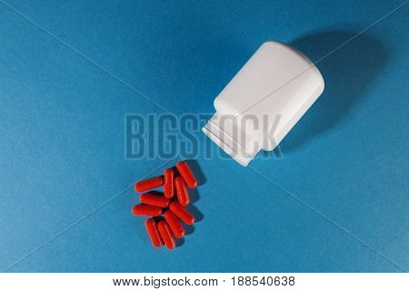 Medical Pills Vitamins With Plastic White Jar