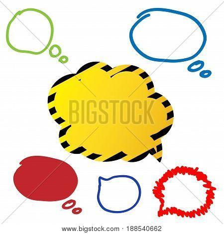 Vector illustration - Hand drawn speech bubble in flat design. Speech bubble colorful set.