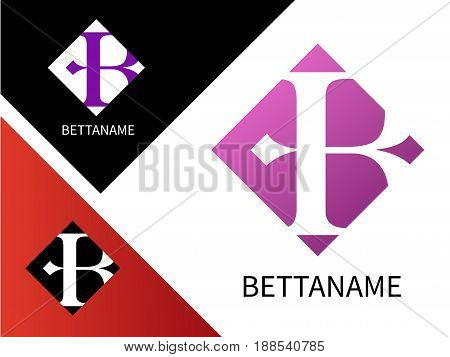 Letter B logo for Business. Template Colorful letter B vector illustration. On white and on black background.