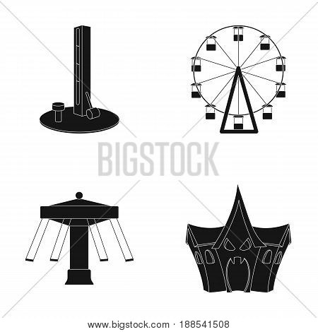 The device with a bat for measuring strength, a ferris wheel, a carousel, a house with windows. Amusement park set collection icons in black style vector symbol stock illustration .