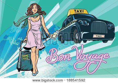 Beautiful young woman tourist passenger taxi. Pop art retro vector illustration