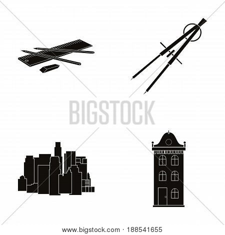 Drawing accessories, metropolis, house model. Architecture set collection icons in black style vector symbol stock illustration .