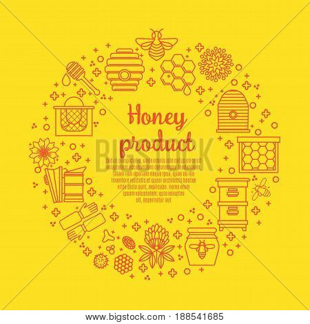Sunny Banner honey product. Juicy colors, linear icons with bees, honeycombs, apiculture devices, for advertising apitherapy products, beekeeping, cosmetic preparations, creams, soaps medicines