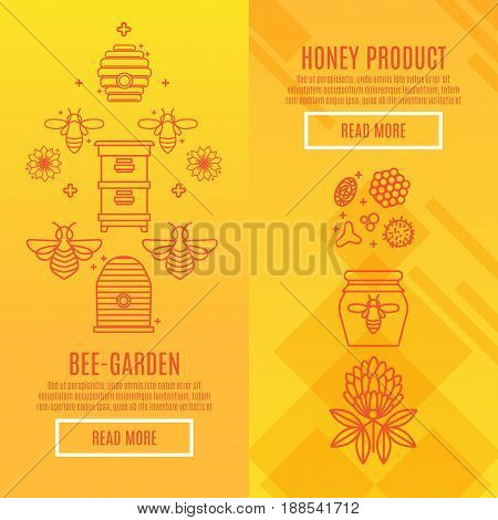 Sunny set Banners honey product. Juicy colors, linear icons with bees, honeycombs, apiculture devices, for advertising apitherapy products, beekeeping, cosmetic preparations, creams, soaps medicines