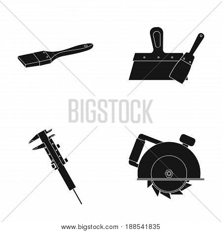 Brush, spatula, caliper, hand circular. Build and repair set collection icons in black style vector symbol stock illustration .