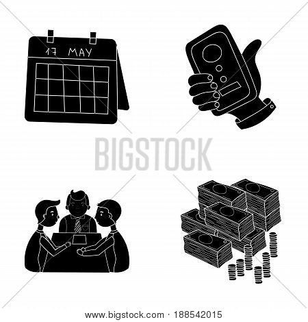 Calendar, telephone conference, agreement, cash.Business-conference and negotiations set collection icons in black style vector symbol stock illustration .