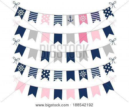 Pink blue and grey nautical buntings for girl birthday invites birthday designs and greeting cards