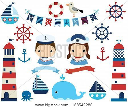 Cute nautical set with girl and boy lighthouses and marine design elements