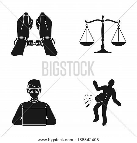 Handcuffs, scales of justice, hacker, crime scene.Crime set collection icons in black style vector symbol stock illustration .