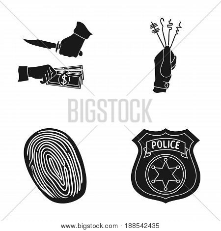 Robbery attack, fingerprint, police officer's badge, pickpockets.Crime set collection icons in black style vector symbol stock illustration .