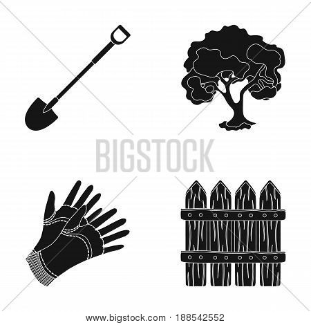 A shovel with a handle, a tree in the garden, gloves for working on a farm, a wooden fence. Farm and gardening set collection icons in black style vector symbol stock illustration .