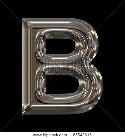 Letter B Rounded Shiny Silver Isolated On Black