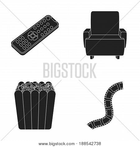 Control panel, an armchair for viewing, popcorn.Films and movies set collection icons in black style vector symbol stock illustration .