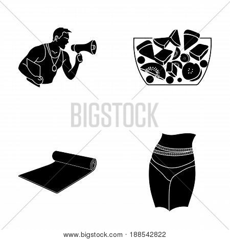 Personal trainer, fruit salad, mat, female waist. Fitnes set collection icons in black style vector symbol stock illustration .