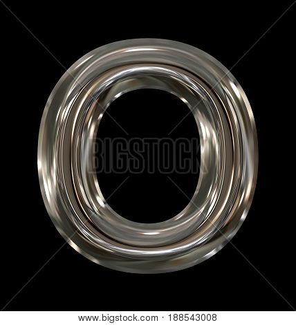 Letter O Rounded Shiny Silver Isolated On Black