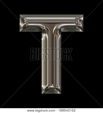 Letter T Rounded Shiny Silver Isolated On Black