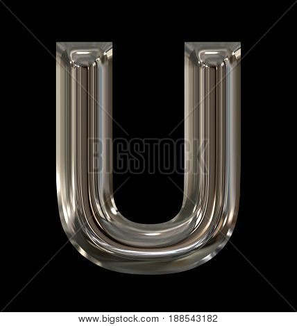 Letter U Rounded Shiny Silver Isolated On Black