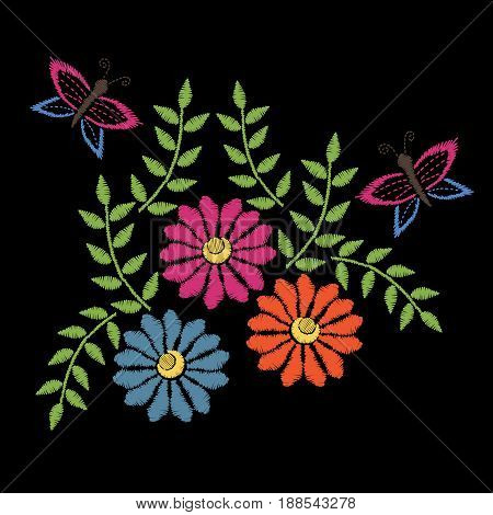 Colorful embroidery stitches imitation folk flower with butterfly and green leaf. Floral embroidery pattern on the black background. Vector embroidery template for printing on fabric napkin and other decoration.