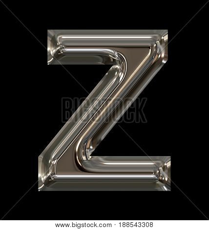 Letter Z Rounded Shiny Silver Isolated On Black