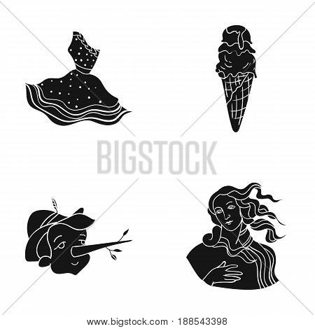 Italian dress, gelato, pinocchio, goddess of love. Italy set collection icons in black style vector symbol stock illustration .