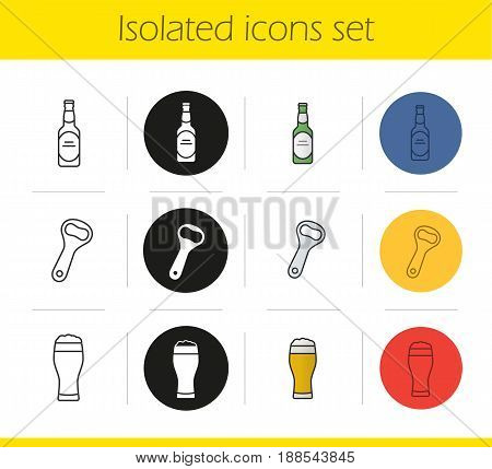 Beer icons set. Linear, black and color styles. Beer glass, bottle and opener. Isolated vector illustrations