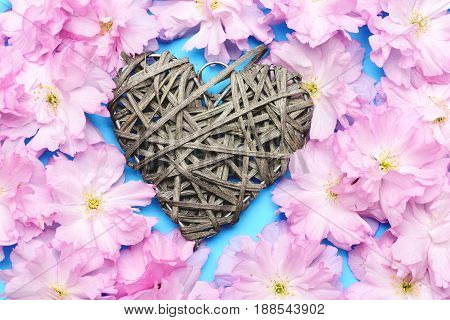 Heart Made Of Grey Willow Threads As Homemade Decoration