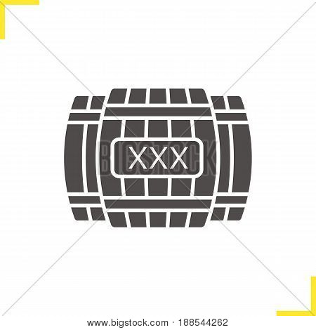Alcohol wooden barrels glyph icon. Silhouette symbol. Whiskey or rum barrels with xxx sign. Negative space. Vector isolated illustration