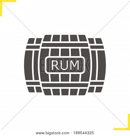 Rum wooden barrels glyph icon. Silhouette symbol. Alcohol wooden barrels. Negative space. Vector isolated illustration