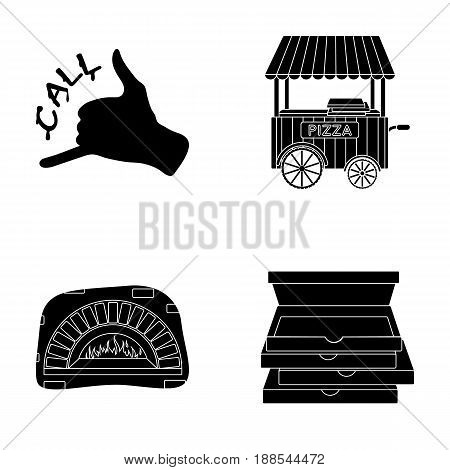 Order pizza gesture, box for pizza, oven, trailer. Pizza and pizzeria set collection icons in black style vector symbol stock illustration .