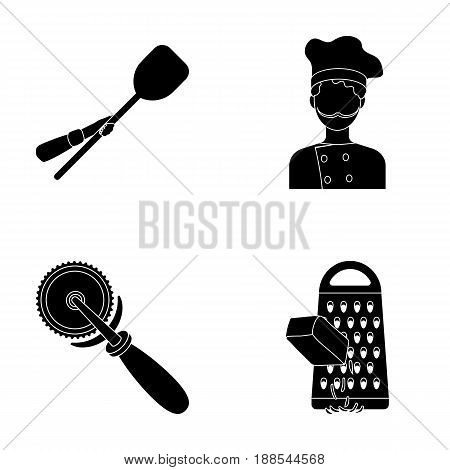 Paddle for the oven, cutter for pizza, cook, rubbing cheese. Pizza and pizzeria set collection icons in black style vector symbol stock illustration .