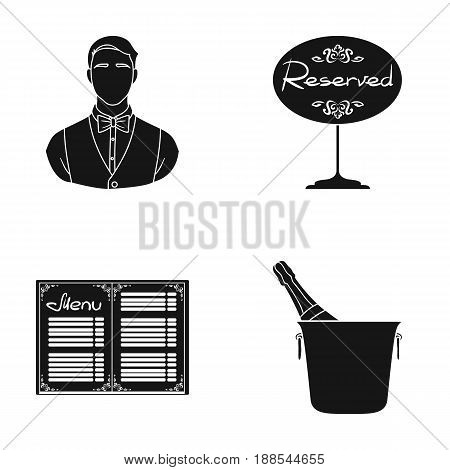 Waiter, reserve sign, menu, champagne in an ice bucket.Restaurant set collection icons in black style vector symbol stock illustration .