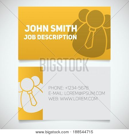 Business card print template with company personnel logo. Manager. Employer. Chief. Stationery design concept. Vector illustration