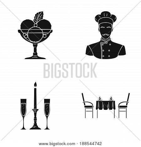 Ice cream with fruit, chef, candle and glasses, a covered table.Restaurant set collection icons in black style vector symbol stock illustration .