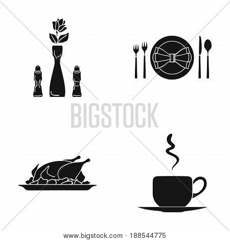 Vase with a flower, table setting, fried chicken with garnish, a cup of coffee.Restaurant set collection icons in black style vector symbol stock illustration .
