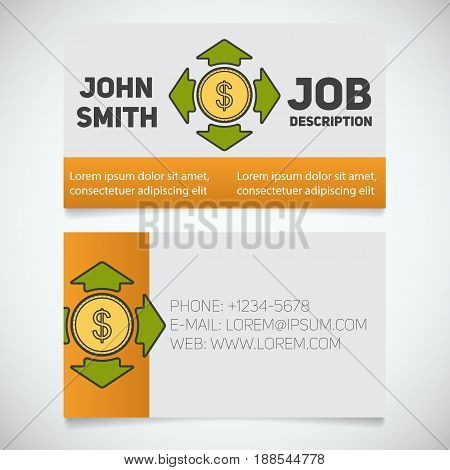 Business card print template with money spending logo. Manager. Accountant. Investor. Stationery design concept. Vector illustration