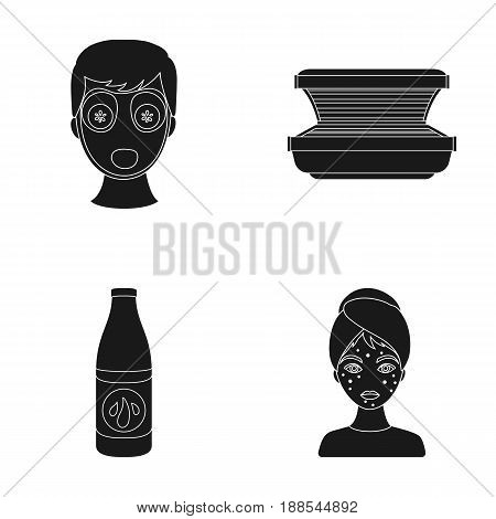 Face mask, solarium, bottle ts lasenom, pimples on face. Skin Care set collection icons in black style vector symbol stock illustration .