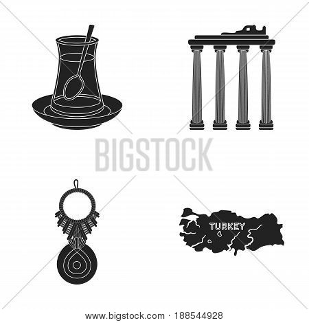 Turkish tea, amulet, ruins of antiquity, map of the territory. Turkey set collection icons in black style vector symbol stock illustration .