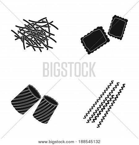 Different types of pasta. Types of pasta set collection icons in black style vector symbol stock illustration .
