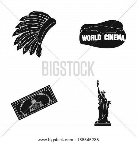 Mohavk, world cinema, dollar, a statue of liberty.USA country set collection icons in black style vector symbol stock illustration .