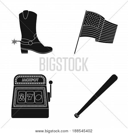 Cowboy boots, national flag, slot machine, baseball bat. USA country set collection icons in black style vector symbol stock illustration .
