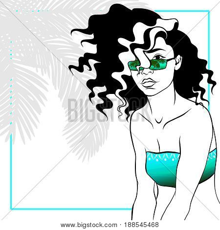 Tropical line art illustration of a curly haired woman. Graphics are grouped and in several layers for easy editing. The file can be scaled to any size.