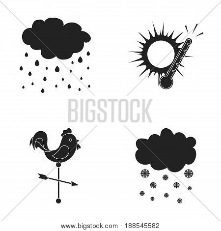 Rain, snow, heat, weathervane. The weather set collection icons in black style vector symbol stock illustration .