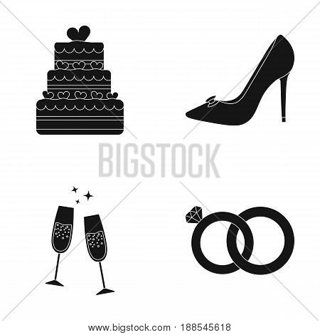 Wedding cake, bride's shoes, champagne glasses, wedding rings. Wedding set collection icons in black style vector symbol stock illustration .