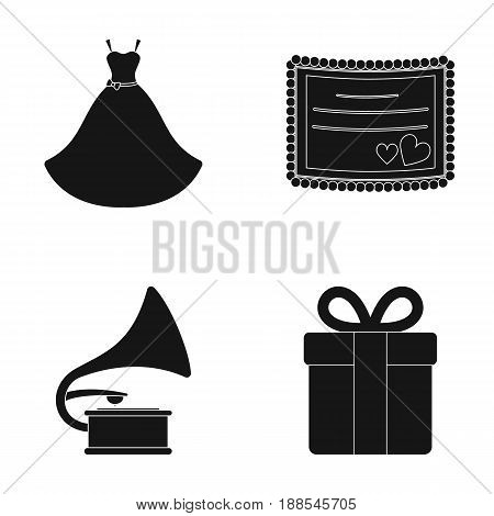 Wedding dress, invitation, gift, gramophone. Wedding set collection icons in black style vector symbol stock illustration .