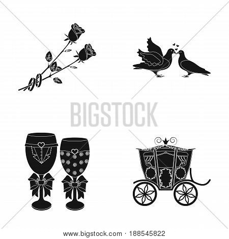 Two red roses with rings, pigeons kissing with hearts, wedding glasses with bows and champagne, a carriage for a festive ceremony. Wedding set collection icons in black style vector symbol stock illustration .