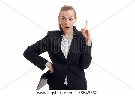 young blonde business woman in uniform has an idea isolated on white background