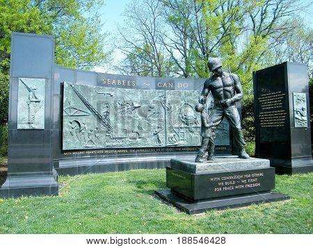 Arlington, USA - April 9, 2010: SEABEES Memoriall in Arlington National Cemetery.