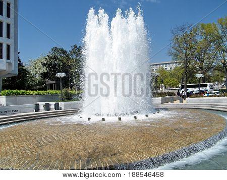 Washington, USA - April 5, 2010: Fountain in Robert Latham Owen Park.