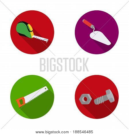 Measuring tape, bolt with nut, trowel, wood hacksaw. Build and repair set collection icons in monochrome style vector symbol stock illustration .